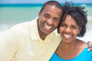 Happy African American Man Woman Couple Beach